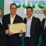 Beston Global Foods operations manager Paul Connolly, general manager Daniel Raschella, CEO Sean Ebert courtesy The Murray Standard