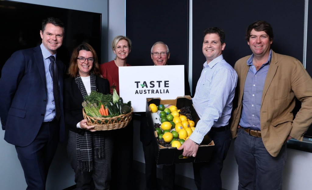 Toby Smith from Olam Almonds, Anne Ruston, Meg Mason from Fresh Produce Group, Selwyn Snell Hort Innovation Chair, Brett Jackson Sevenfields, and Ed Fagan Mulyan Farms.