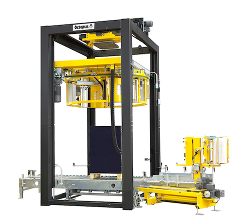 "Fully automatic, the machines employ the ""Octopus ring method"", whereby the wrapping film reel is suspended from a ring and it revolves around the pallet."