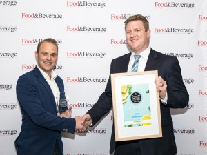 Utonic co-founder Michael Brinkley receives an award from Flavour Makers' Rowan Barnes. Utonic also won Beverage of the Year – sponsored by Vega Australia.