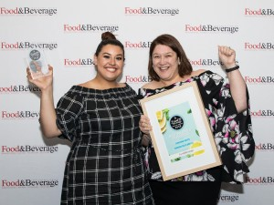 Celina Pereira (left) and Nalita Ferraz, from Sunshine Meats, with their award for best Meat, Poultry and Smallgoods.