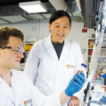 Professor Xiaoke Yi (r)  aims to create technologies for other biomarker measurements such as measuring glucose levels.